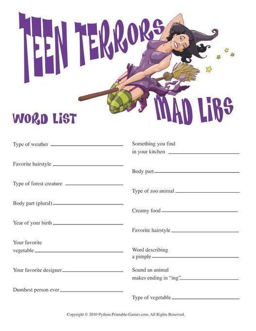 Halloween: Teen Terrors Mad Libs Party InstantFun DIY