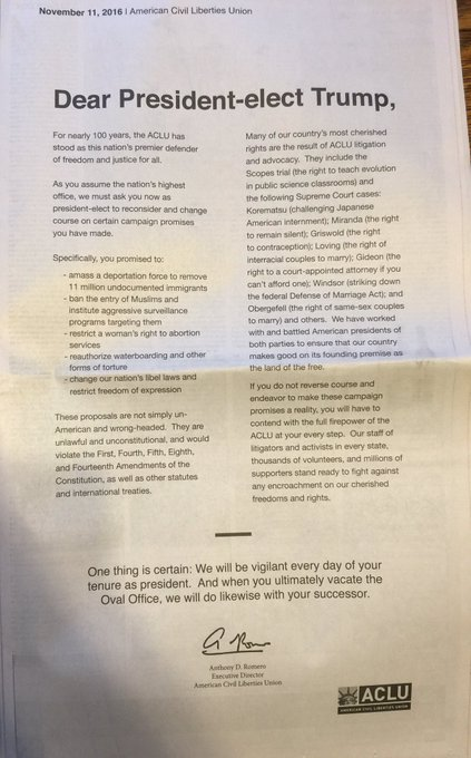 Today we published a full-page open letter in the New York Times to President-elect Trump