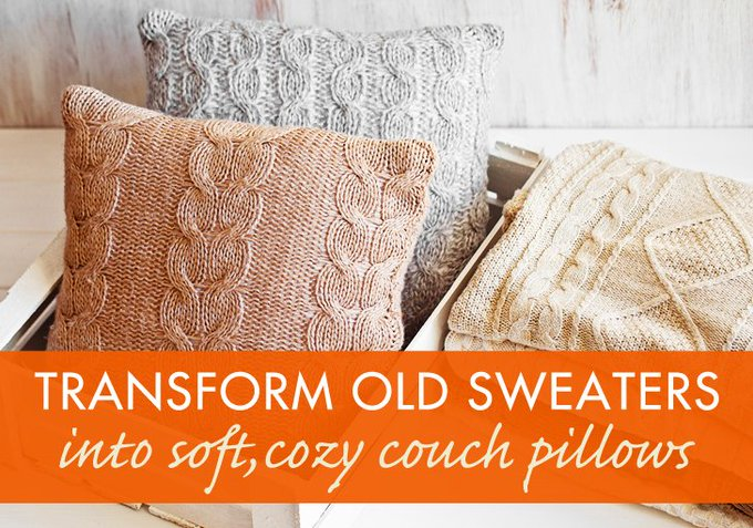 Weekend Project: Upcycle a sweater into a cuddly pillow for your couch inhabitat DIY