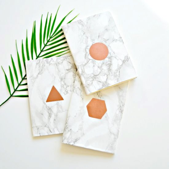 DIY DIY copper and marble notebooks