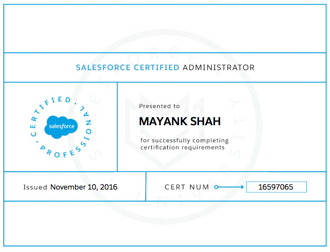 Mayank Shah On Twitter My Sfdc Certification Journey Begins