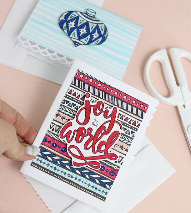 Christmas cards you can color! How neat! christmascard diycards christmas diy