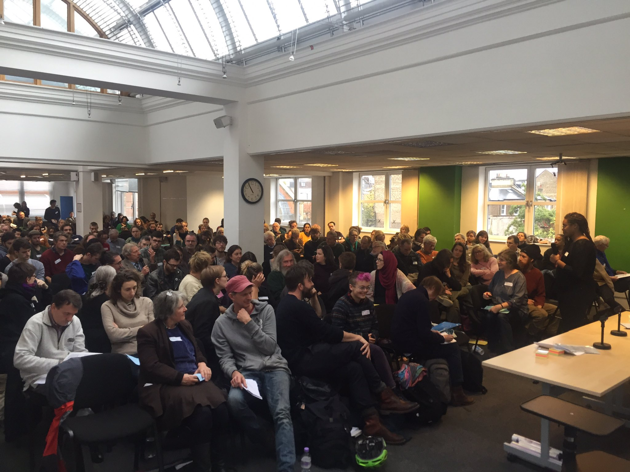 Jam-packed opening session of #landforwhat in north London this morning @landforwhat. See me for your copy of @TheLandMag https://t.co/G8DAyQwj5o