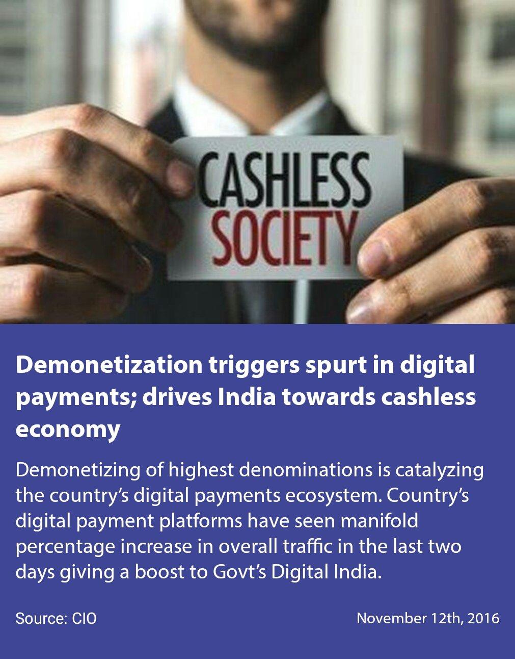 Demonetization triggers spurt in digital payments; drives India towards #CashlessEconomy. #TransformingIndia   https://t.co/XbEicynb2e https://t.co/5U2sosM4Kk