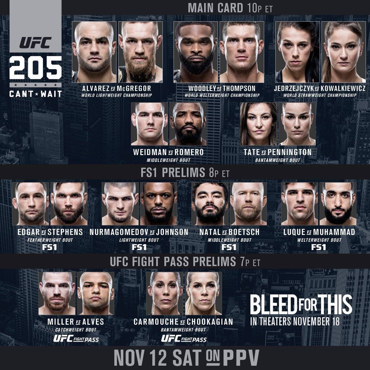 Ufc On Twitter It S Fight Day Ufc205 Goes Down Tonight Fight Card Btyb Bleedforthis In Theaters 11 18 Ufcnyc