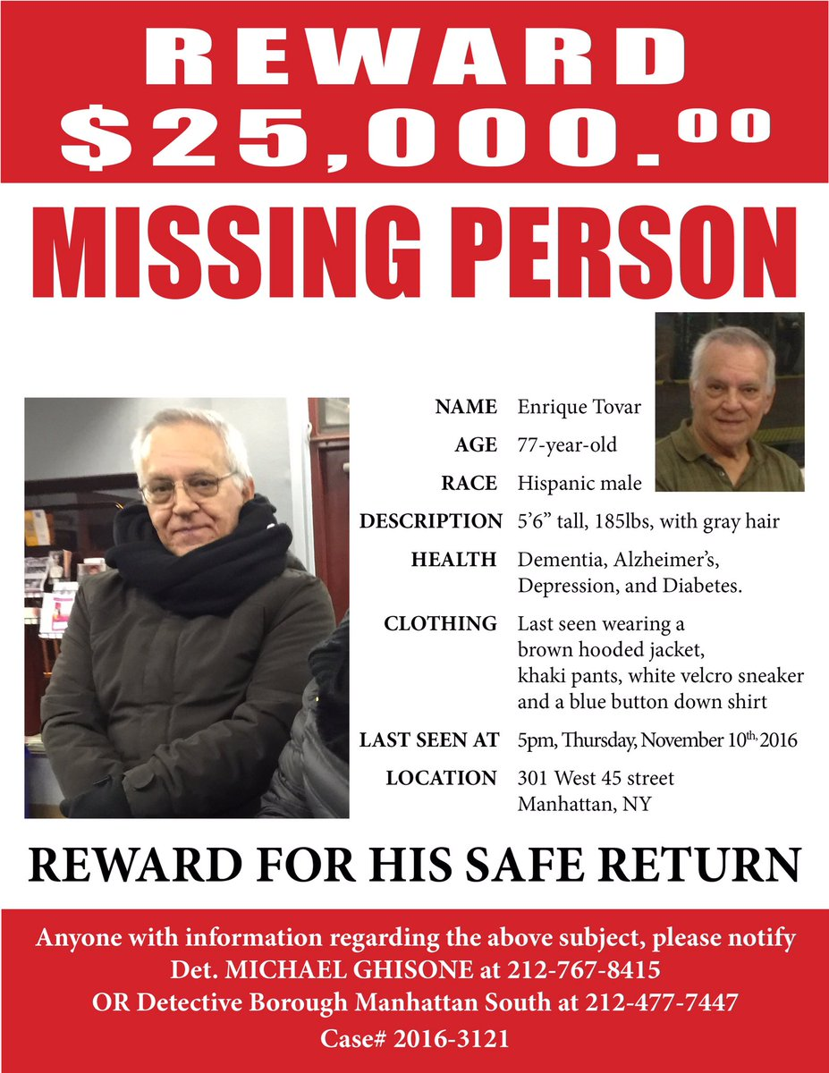 Friends, Im hoping u can help us find Enrique Tovar-last seen at 301 West 45th street, close to 7th Ave-Please share https://t.co/AIFTqLJaik