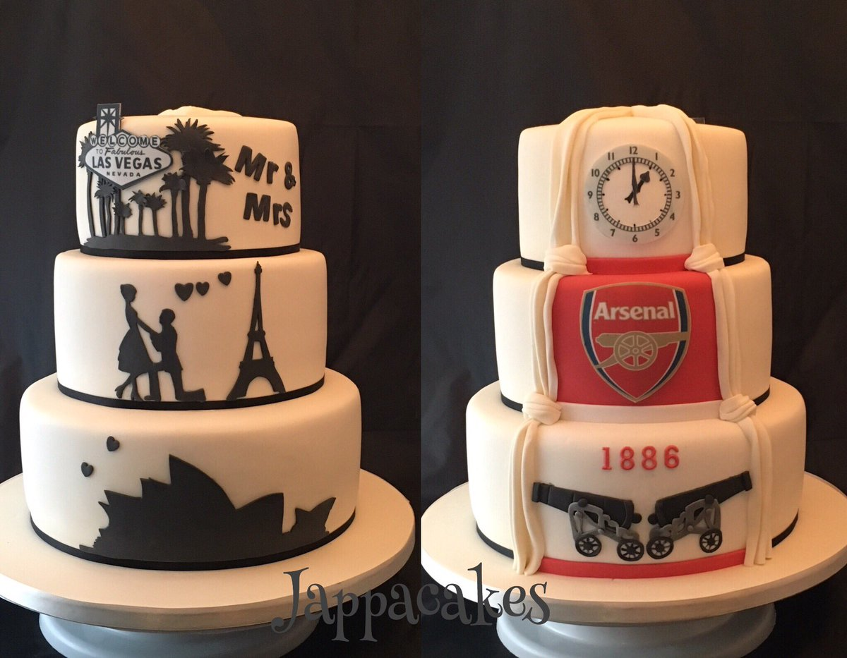 Jappacakes on Twitter Silhouette wedding cake with Arsenal themed