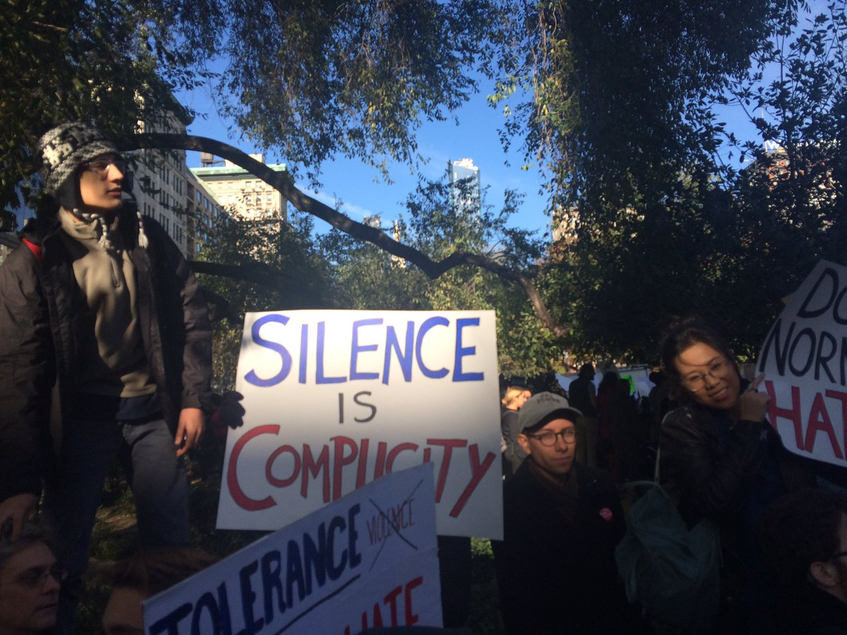 SILENCE IS COMPLICITY  #notmypresident #protest #nycprotest #protestnyc #silenceiscomplicity #wearethepopularvote https://t.co/runYoumXUc