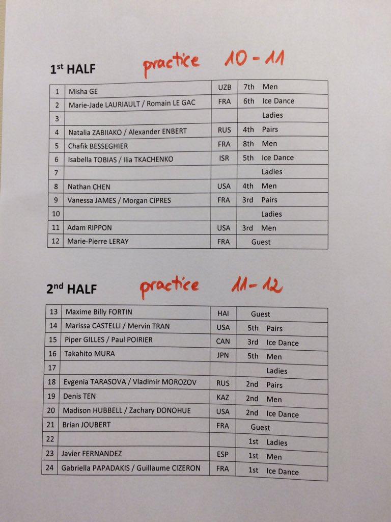 フランス杯EX出演者リスト 7位のミーシャも出ます!  ゲストでジュベも!  @mishageofficial will perform on gala of GP Trophee de France!! Yay!! :D