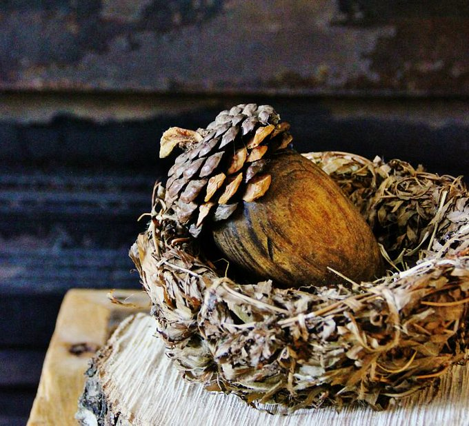How to Make a Pinecone Acorn - Thistlewood Farm falldecor diy nature