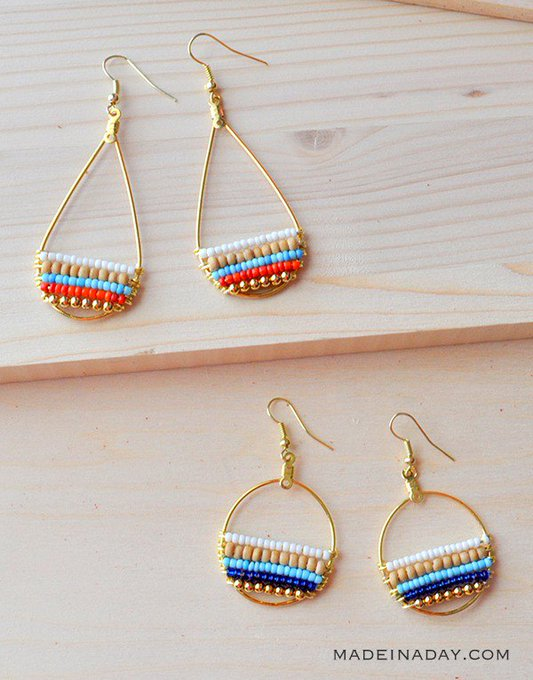 DIY Beachy Bohemain Beaded Hoop Earrings diy earrings tutorial