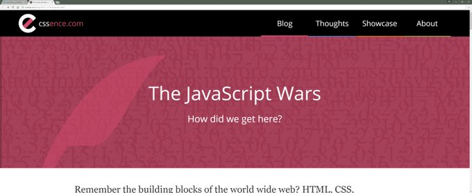 Screenshot of the CSSence.com Javascript Wars article header on a large display.