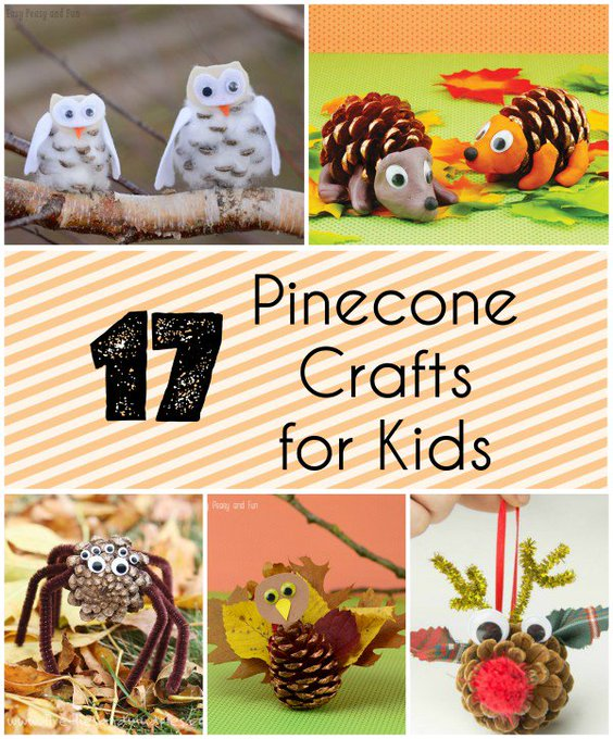 17 Pinecone Crafts for Kids via Mommalewsblog
