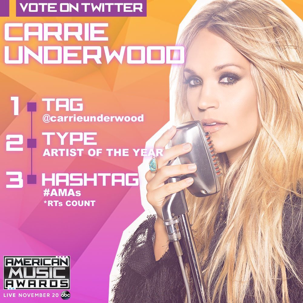 I'm voting @carrieunderwood for  Artist of the year #AMAs #Tweets and retweets count as votes! https://t.co/DwRNsPDVme