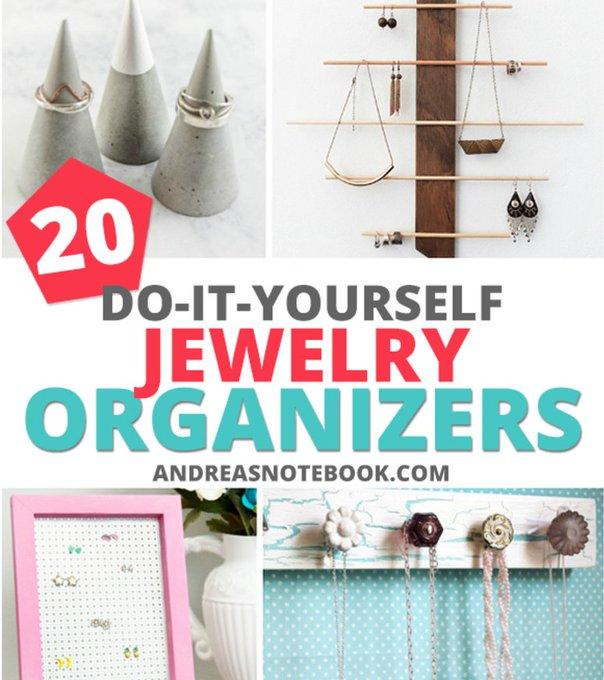 20 DIY jewelry organizer tutorials diytutorials diyjewelry diy makersgonnamake