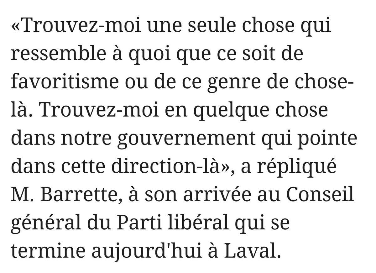 Le ministre @DrGBarrette ne suit pas l&#39;actualité de son propre parti ?! #Lessard #Daoust etc...  #PLQ #polqc<br>http://pic.twitter.com/rQH44Qikyx