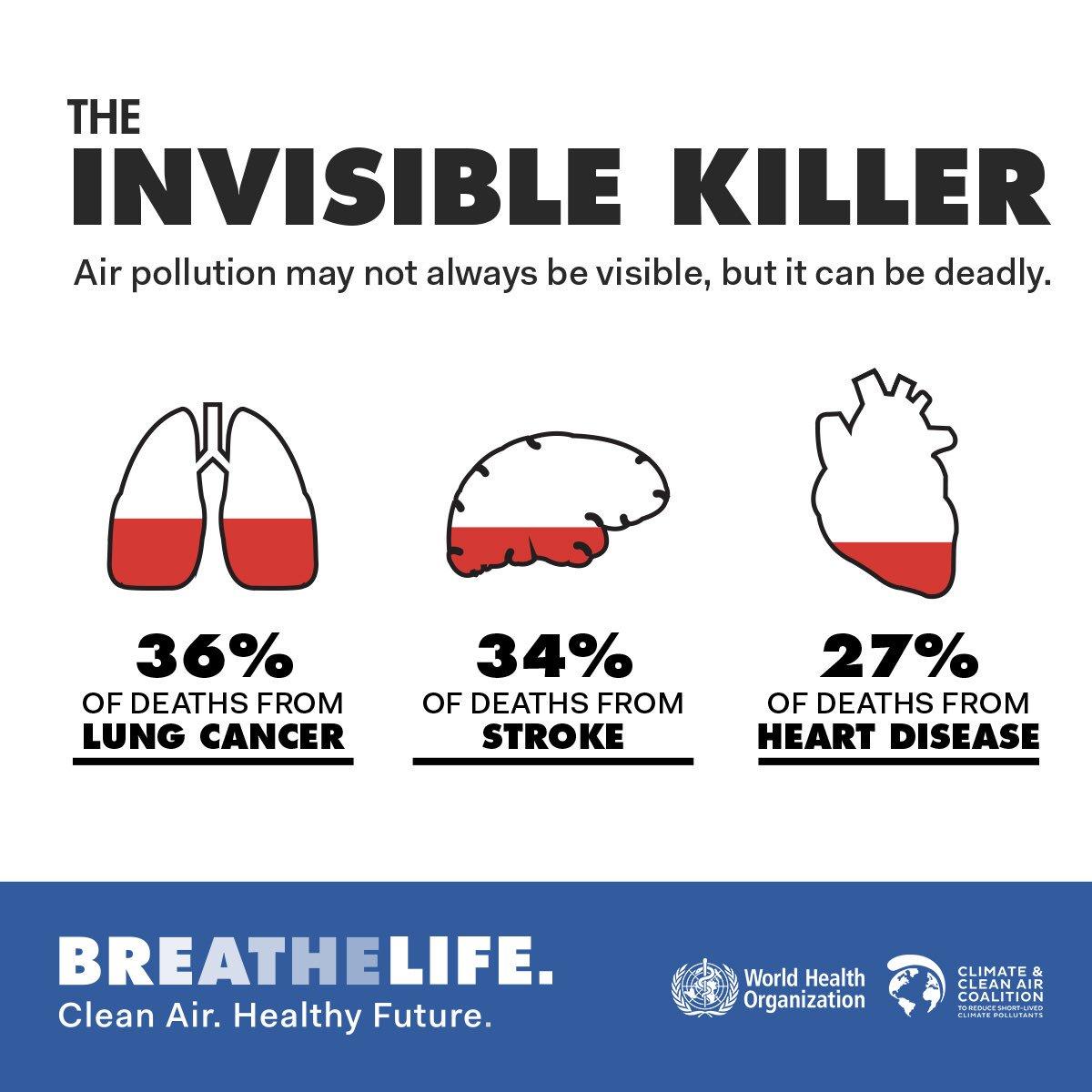 6,5 millones de personas mueren cada año de enfermedades relacionadas con la contaminación del aire. (OMS).  https://t.co/iQ2iGvJAtZ