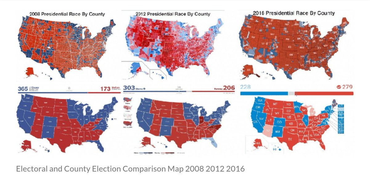 Electoral and County Comparison Map for 2008, 2012, and 2016.  #ElectoralCollege https://t.co/mcaN1NF5Uc