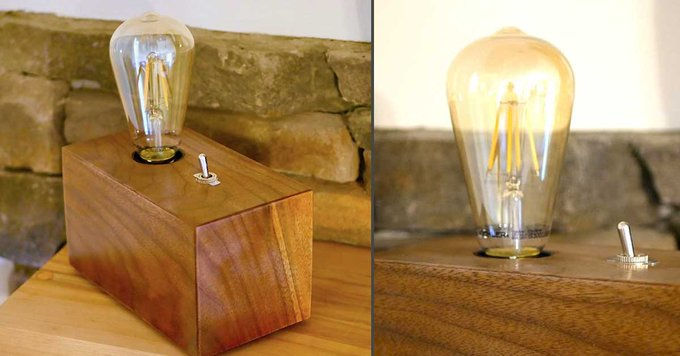 DIY Walnut Edison Bulb Lamp