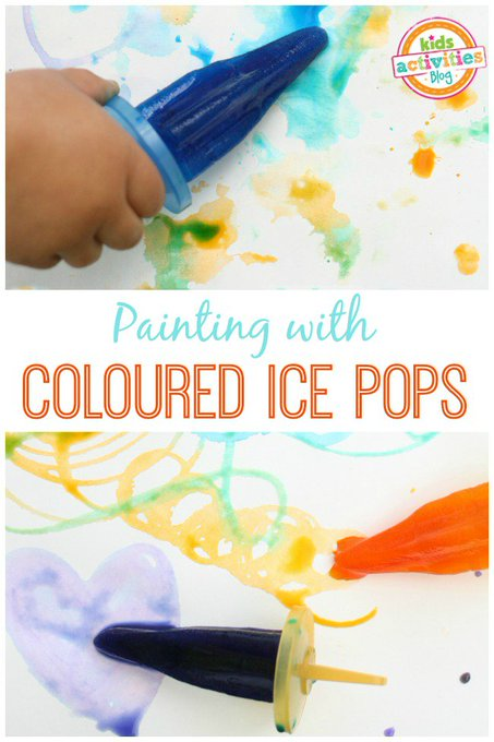 Ice Painting with Popsicles arts crafts toddler nyc