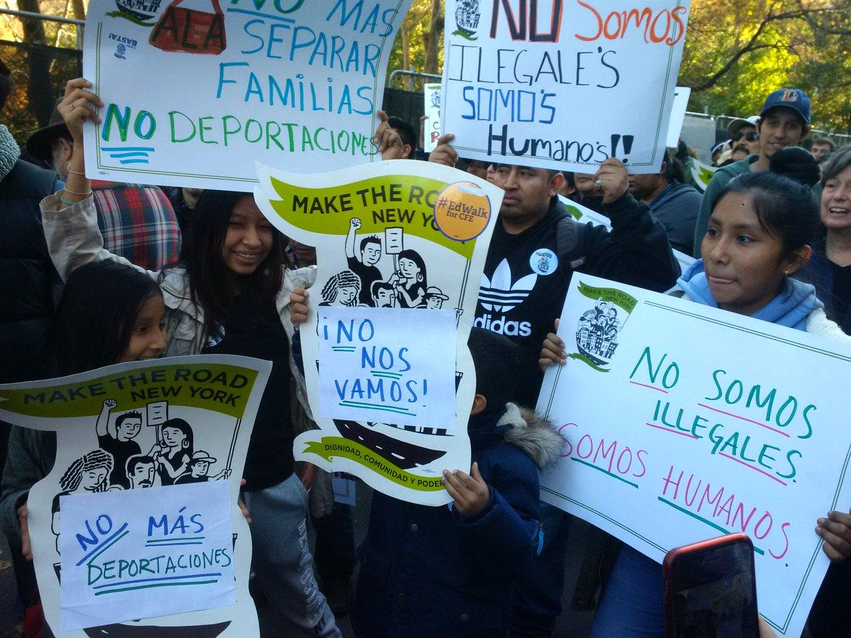 No walls, no bans, no deportations. We are the majority, we are #HereToStay and #NoNosVamos https://t.co/JPfAiXHGm0