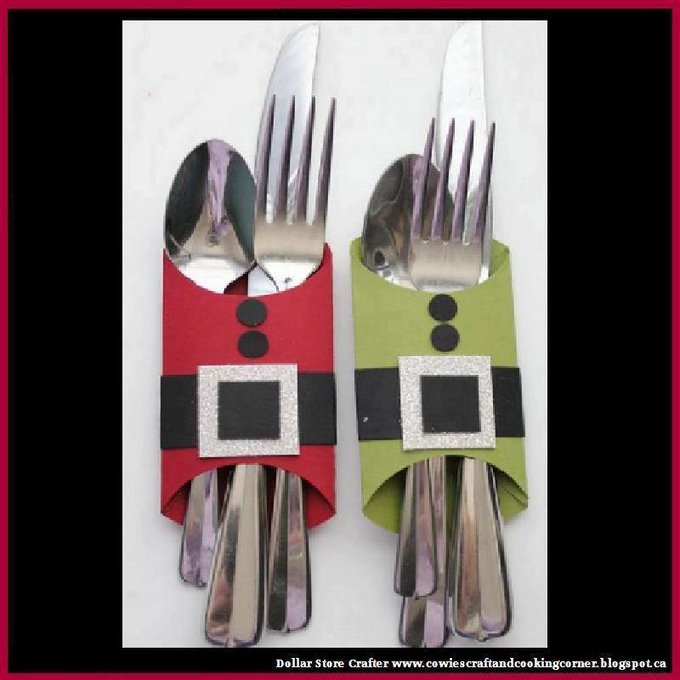 DIY Santa & Elf Belly Utensil HoldersLINK>>christmas crafts christmascrafts