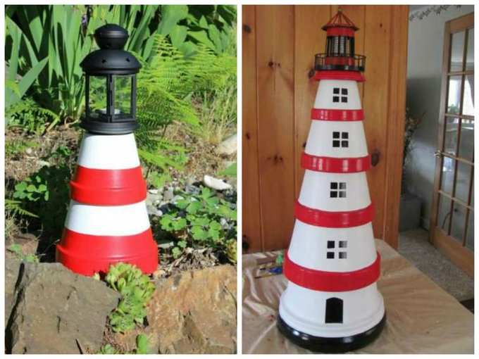 DIY: Cute Clay Pot Lighthouses : Miniature Outdoor Patio Pots Repurposed