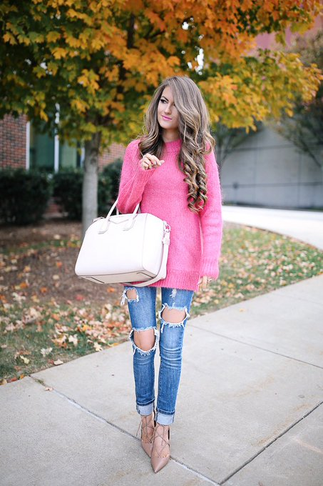Hot Pink Sweater via Southern Curls & Pearls cmcoving ootd