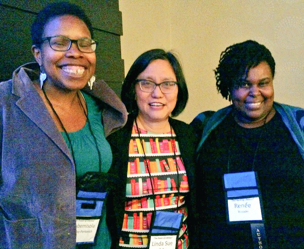 Highlights of @nysreading today: meeting terrific teachers AND authors @olugbemisola & @reneewauthor !!! https://t.co/8scmjzmszs