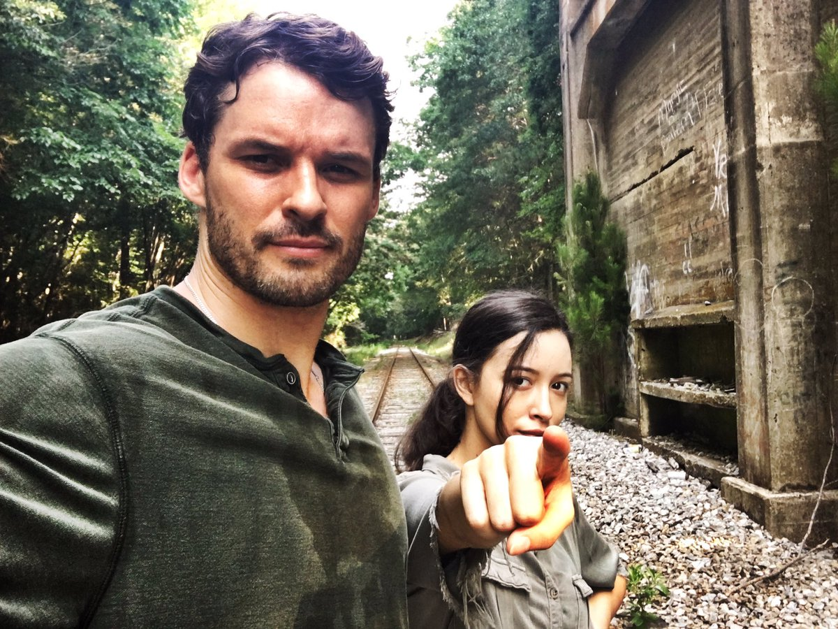 Spencer and Rosita on the railroad tracks. https://t.co/TeG7NdPrEf