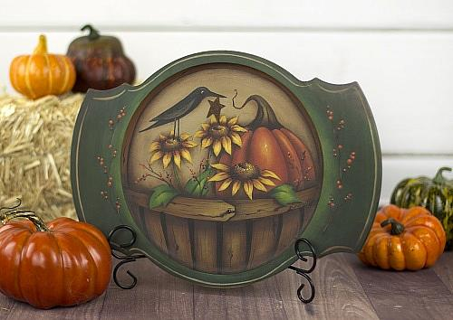Autumn Basket Plate in Primitive Style decoartprojects fall decor DIY craft