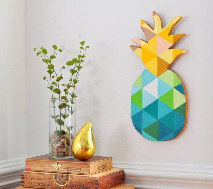 DIY Painted Geometric Pineapple DIY