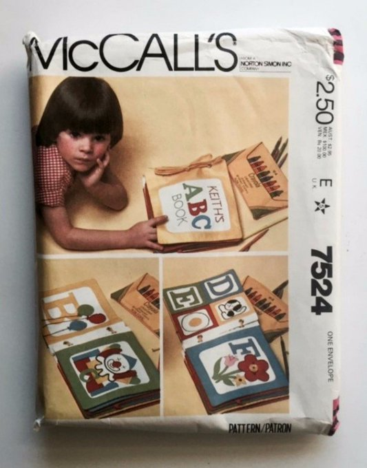 McCalls 7524 Sewing Pattern Soft Kids Alphabet Learning Book Crafts Vintage Uncut