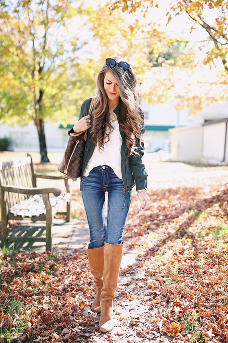 Bomber Jacket & OTK Boots via Southern Curls & Pearls cmcoving ootd