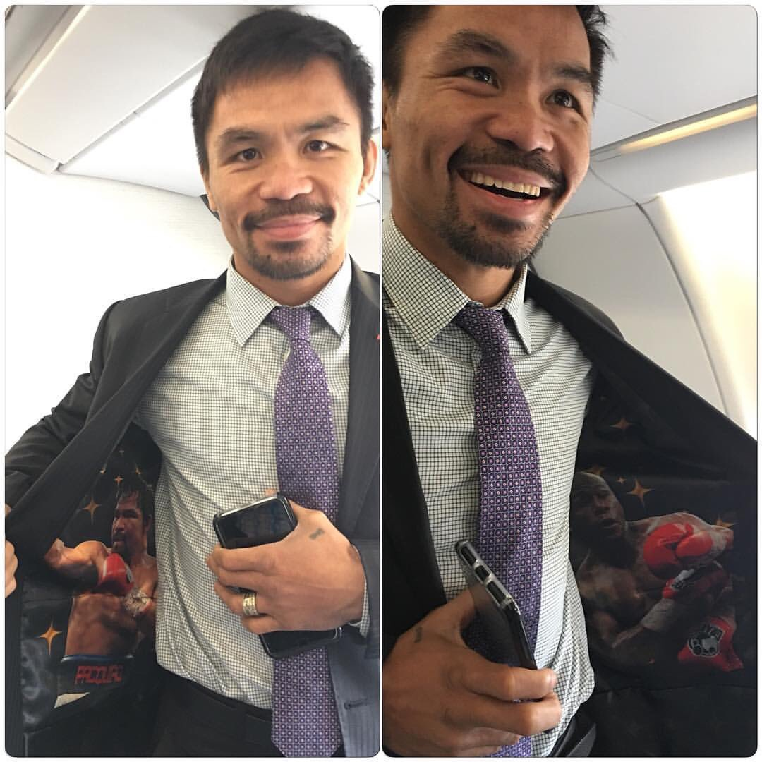 Manny Pacquiao hints at Mayweather rematch with a special jacket