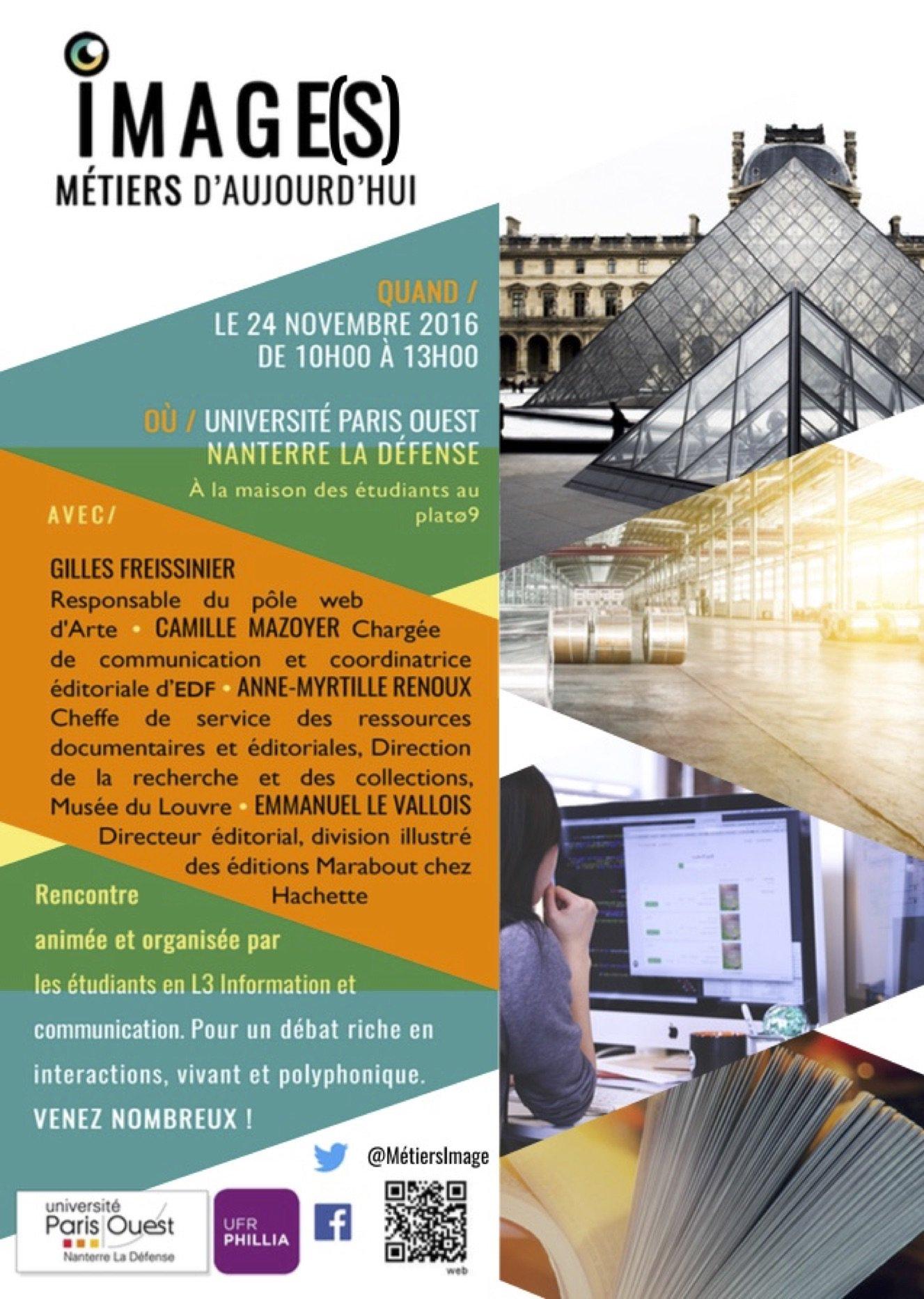 RV le 24/11 pour la 4e édition des rencontres #MetiersImage organisées par la licence infocom de @parisouest  https://t.co/6p0o5laBl9 https://t.co/jSpgPOiwAU