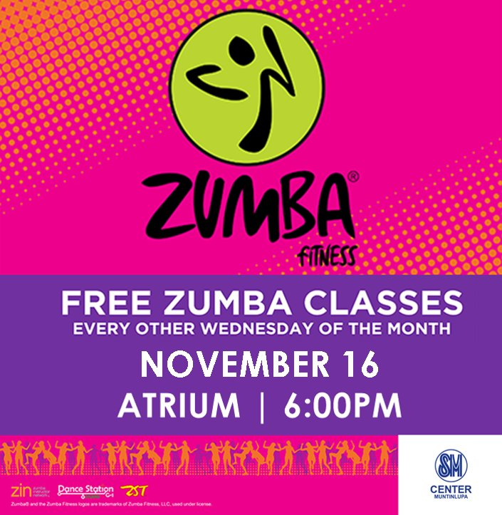 Everything's here for a healthier you! Join our free zumba class on November 16! #SMEvents #EverythingsHereAtSM https://t.co/J5w1H6zXaJ