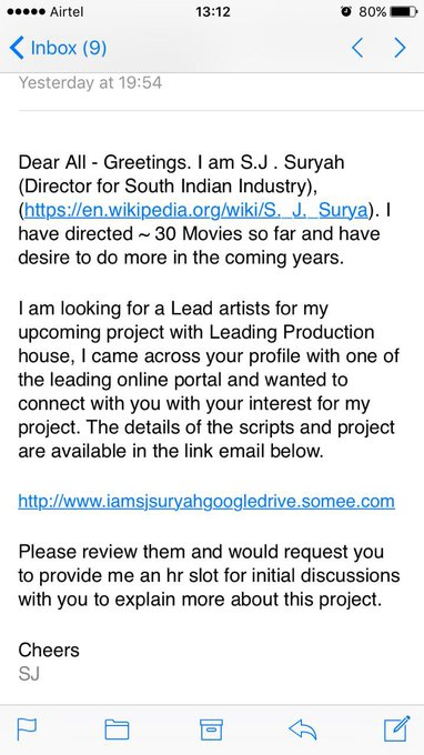 some fake guys sending fake mails to heroines ... Industry people BEWARE of fake mails https://t.co/QMikJkIWPy
