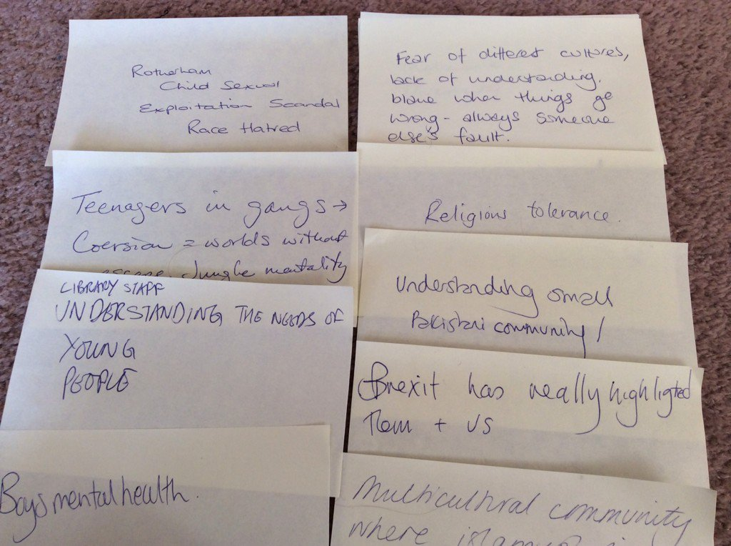 @EmpathyLabUK wkshop #ASCELconf16 asked librarians about local issues which needed  #empathy. The list was long... https://t.co/Wn5lr4puvr
