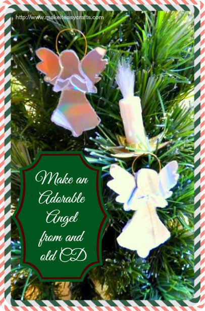 Make a cute angel from an old CD!christmas DIY recycled tutorials makeiteasycrafts