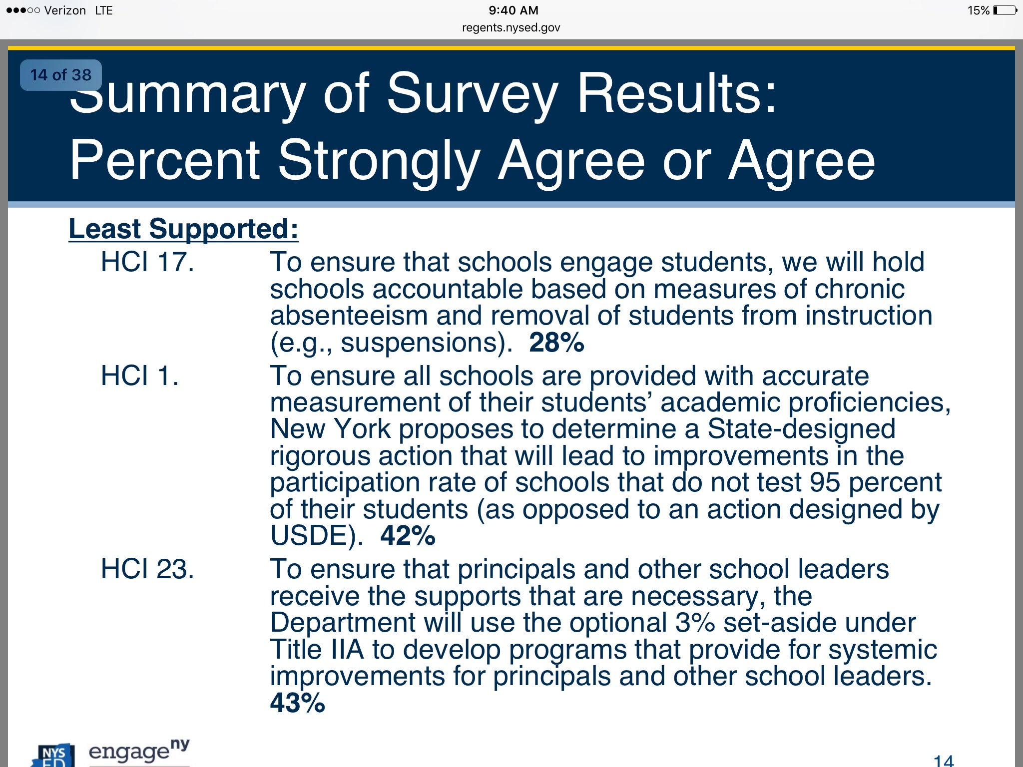 Least supported high concept ideas, worry from @NYSEDNews that question 17 may need to be looked at to reflect intent @NYSPTA https://t.co/0PHkL5SEIk