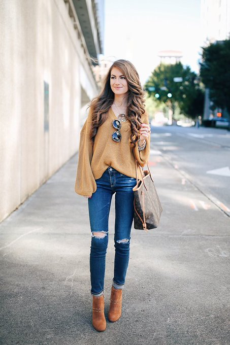 V-Neck Sweater & Studded Booties via Southern Curls & Pearls cmcoving ootd