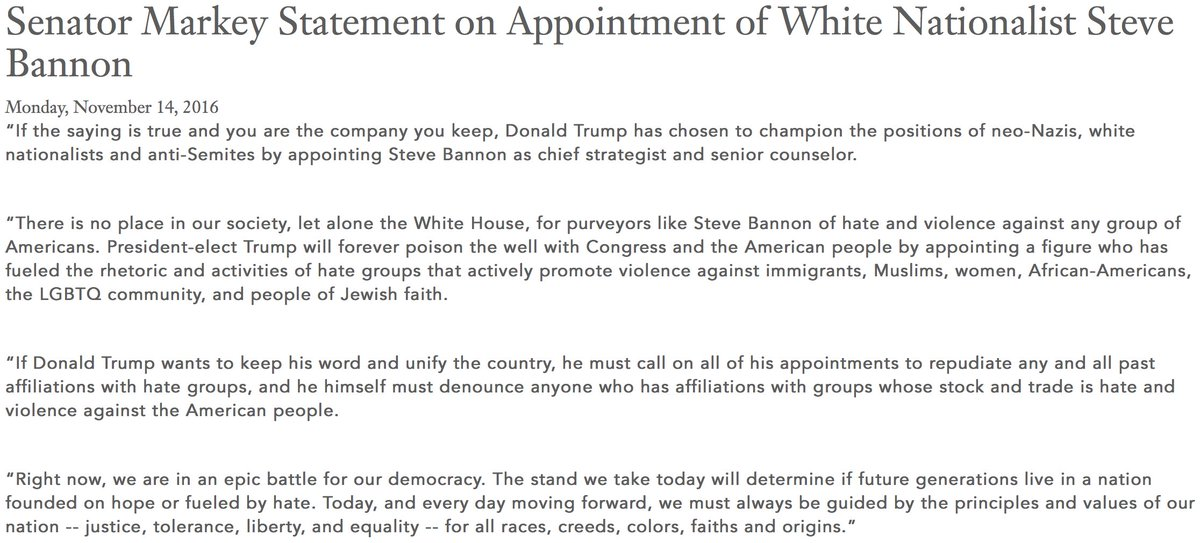 My full statement on @realDonaldTrump's appointment of white nationalist Steve Bannon https://t.co/wg0XVl2dre https://t.co/LpT95gbq64