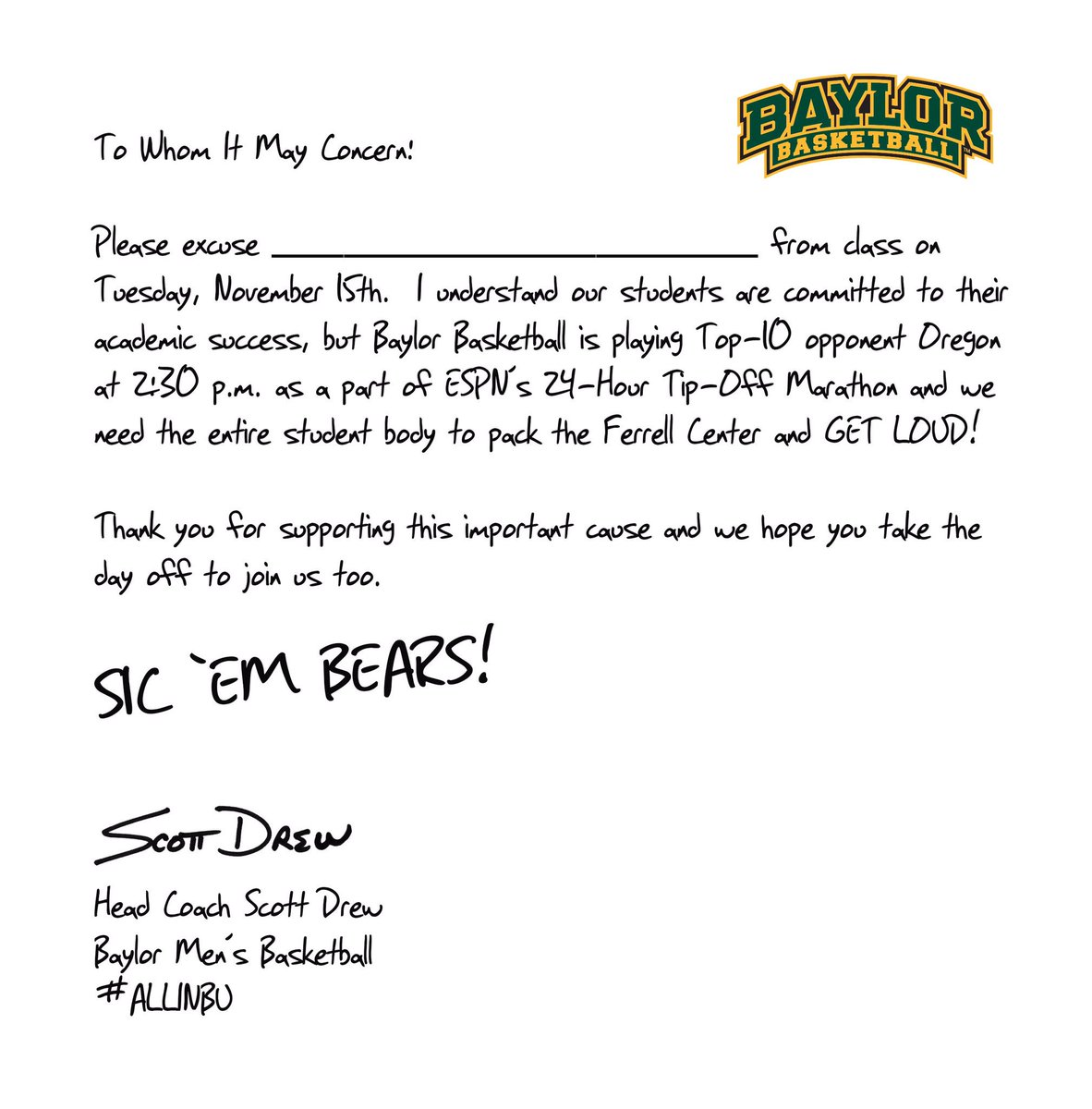 I've got your back, Baylor students!!   Can't wait to see you at Ferrell Center at 2:30 pm Tuesday!   #SicOregon