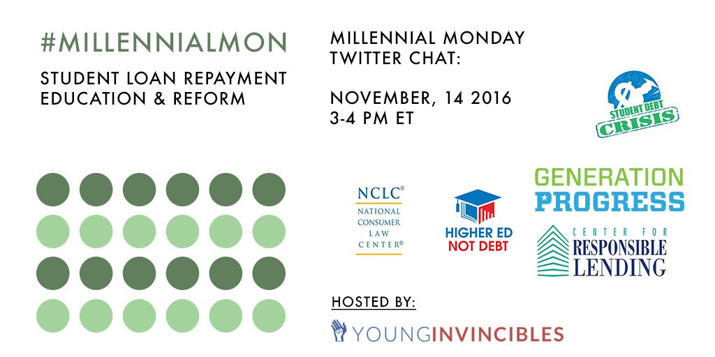 Welcome to #MillennialMon! Today we are talking #StudentLoan repayment options & how to improve the repayment process. https://t.co/fPlFEjw2p0