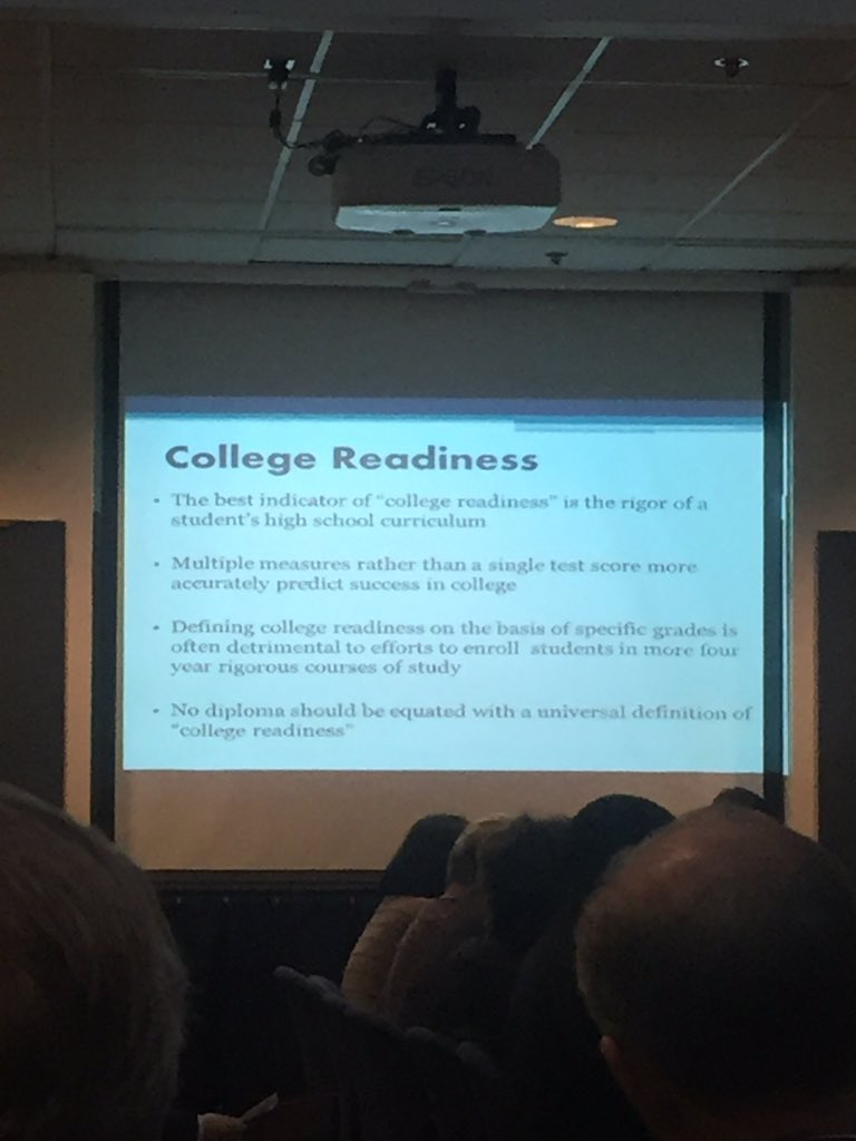 Bierwirth, best indicator of college readiness is rigor of the students curriculum @NYSPTA @NYSEDNews, multiple measures not one test impt https://t.co/ZTtd1ZUNv2
