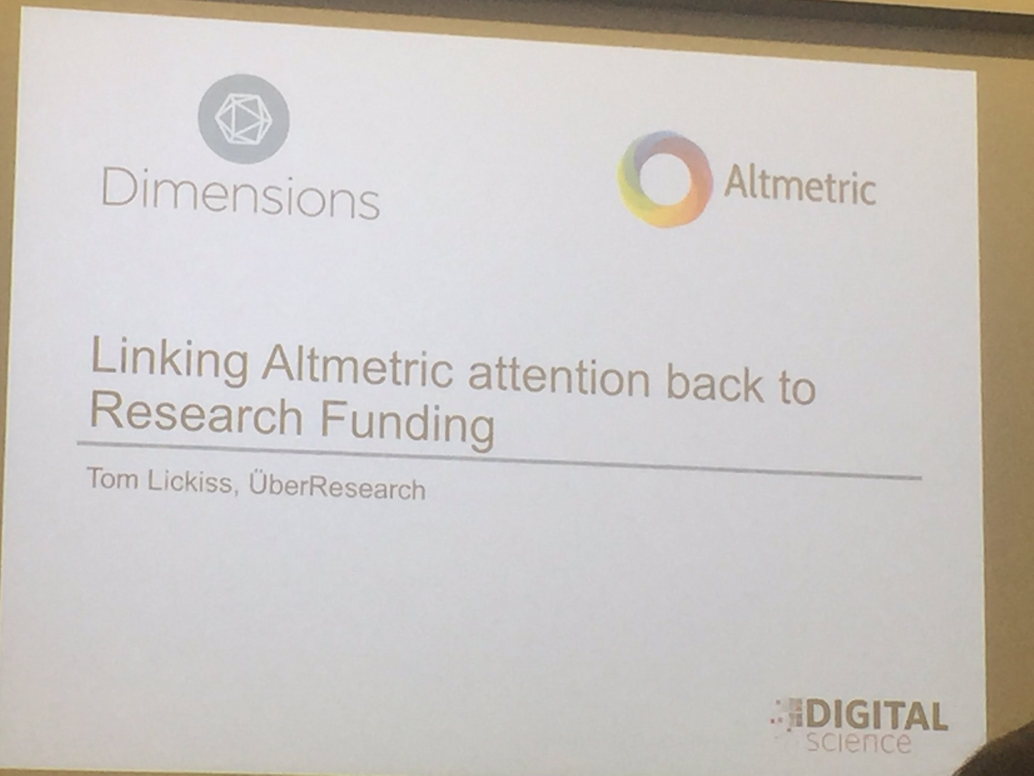 Tom Lickiss from UberResearch not the cab company as he was keen to point out #Altmetricon16 https://t.co/U9U0h6lsaq