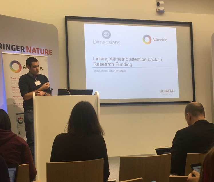 .@tomlickiss1 is our last presentation at #altmetricon16: linking @Altmetric attention data back to research funding https://t.co/fs1vTYIZjB