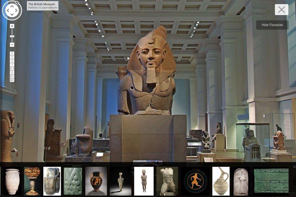 大英博物館は、地下1階から地上5階までのストリートビューを提供した。収蔵品4,500点以上をヴァーチャルに鑑賞することができる。 https://t.co/RaTLaPRIVa
