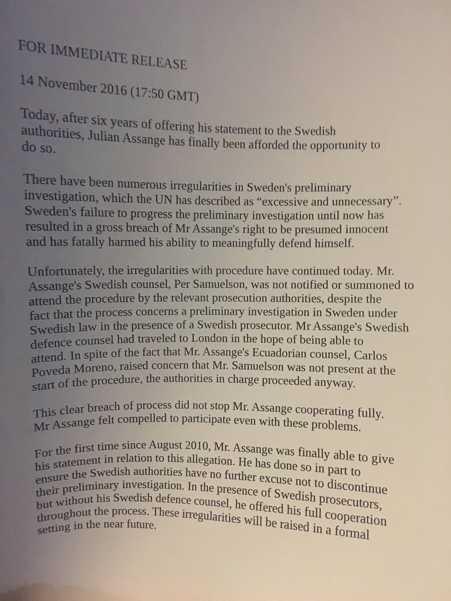 Statement from @wikileaks Julian #Assange after being questioned by Swedish prosecutors for 6/7 hours today.